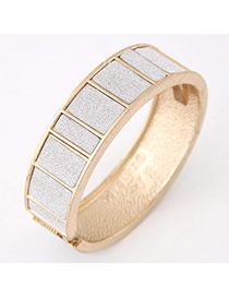 Elegant Gold Color Rectangular Grid Decorated Simple Braclete