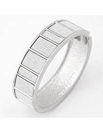Elegant Silver Color Rectangular Grid Decorated Simple Braclete