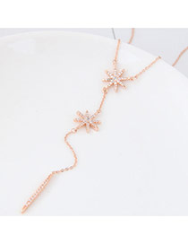 Sweet Rose Gold Sunflower Shape Pendant Decorated Pure Color Necklace