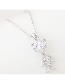 Sweet Silver Color Water Drop Shape Diamond Decorated Bear Shape Necklace