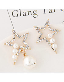 Sweet White Pearls&diamond Decorated Hollow Out Star Design Asymmetric Earrings