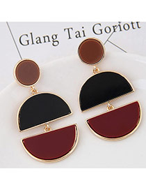 Exaggerated Black+dark Red Double Moon Shape Pendant Decorated Color Matching Earring