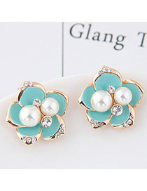 Sweet Light Blue Pearl&diamond Decorated Flowe Shape Earring