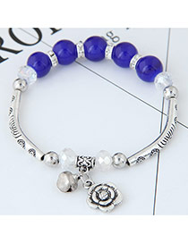 Bohemia Blue Metal Rose Pendant Decorated Simple Bracelet