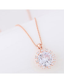 Delicate Rose Gold Round Shape Decorated Simple Long Chain Necklace