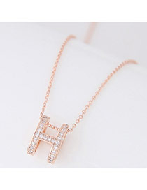 Delicate Rose Gold Round Shape Pendant Decorated Simple Long Chain Necklace