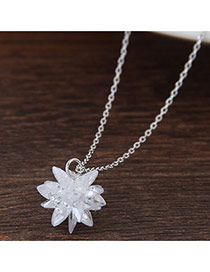 Elegant White Flower Pendant Decorated Simple Long Chain Necklace