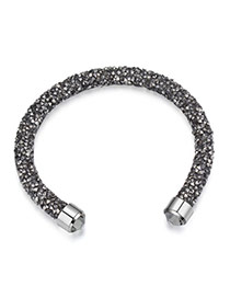Personality Gray Metal Round Decorated Pure Color Simple Bracelet