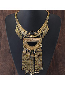 Exaggerated Gold Color D Shape Decorated Tassel Pendant Short Chain Necklace