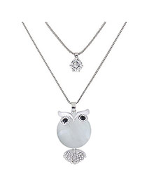 Sweet Silver Color Owl Shape Pendant Decorated Double Layer Necklace