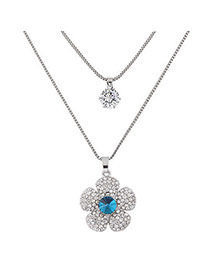 Sweet Silver Color Clover Shape Pendant Decorated Double Layer Necklace