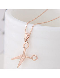 Sweet Rose Gold Scissors Shape Pendant Decorated Simple Necklace