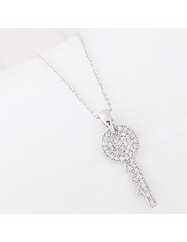 Sweet Silver Color Diamond Key Shape Pendant Decorated Simple Necklace