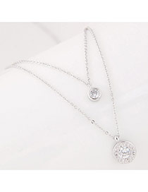 Sweet Silver Color Round Pendant Decorated Double Layer Necklace