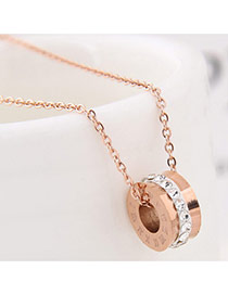 Exquisite Rose Gold Cylindrical Pendant Decorated Simple Necklace