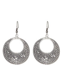 Fashion Silver Color Flower Pattern Decorated Hollow Out Design Simple Earrings