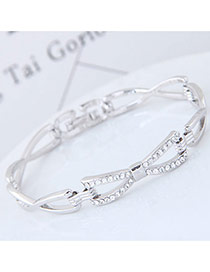 Sweet Silver Color Round Shape Diamond Decorated Hollow Out Design Bracelet