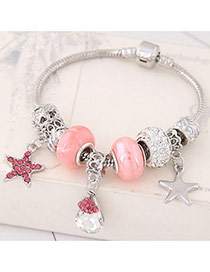 Fashion Pink Star&beads Pendant Decorated Color Matching Simple Bracelet