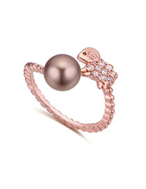 Fashion Rose Gold Pearl&diamond Decorated Lamb Shape Simple Earring
