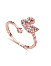 Fashion Rose Gold Diamond Decorated Swan Shape Design Opening Ring