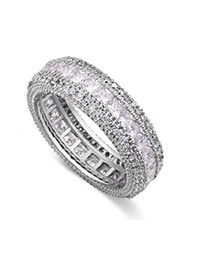 Fashion Silver Color Full Diamond Decorated Multi-layer Simple Ring