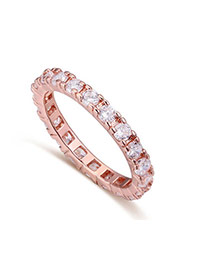 Fashion Rose Gold Round Shape Diamond Decorated Simple Ring