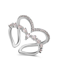 Fashion Silver Color Heart Shape Decorated Hollow Out Design Ring