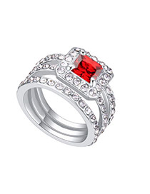 Fashion Garnet Square Shape Diamond Decorated Hollow Out Design Ring