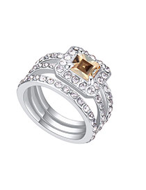 Fashion Gold Color Square Shape Diamond Decorated Hollow Out Design Ring