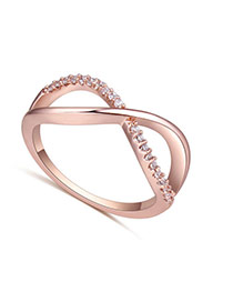 Fashion Rose Gold Diamond Decorated Cross Shape Design Simple Ring