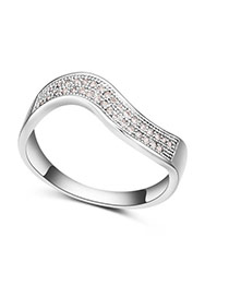 Fashion Silver Color Round Shape Diamond Decorated Curve Design Simple Ring