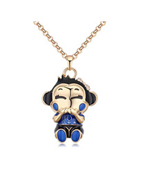 Fashion Champagne+blue Monkey Pendant Decorated Color Matching Simple Necklace