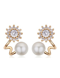 Fashion Champagne Gold Diamond&pearls Decorated Flower Shape Earrings
