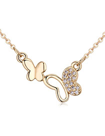 Fashion Champagne Gold Diamond Decorated Butterfly Shape Simple Necklace