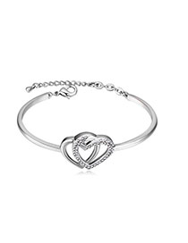 Fashion Silver Color+white Diamond Decorated Hollow Out Double Heart Design Bracelet