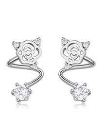 Fashion Silver Color Diamond Decorated Hollow Out Flower Shape Simple Earrings