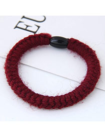 Fashion Red Pure Color Decorated Hand-woven Woolen Yarm Hair Band