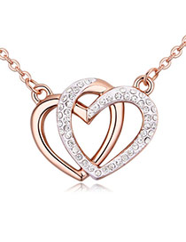 Fashion Rose Gold+white Heart Shape Pendant Decorated Hollow Out Design Necklace