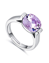 Fashion Purple Round Shape Diamond Decorated Color Matching Ring