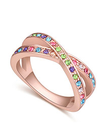 Fashion Multi-color Round Shape Diamond Decorated Cross Design Simple Ring