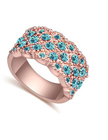 Fashion Rose Gold+blue Big Round Diamond Decorated Color Matching Design Ring