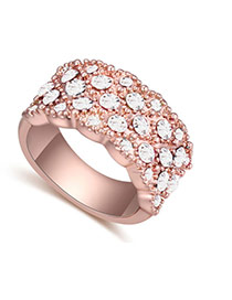 Fashion Rose Gold+white Big Round Diamond Decorated Color Matching Design Ring