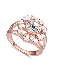 Fashion Rose Gold+white Big Round Diamond Decorated Hollow Out Flower Design Ring