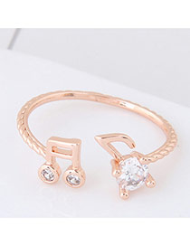 Elegant Rose Gold Round Shape Diamond Decorated Musique Shape Design Ring