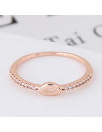 Elegant Rose Gold Diamond Decorated Lip Shape Design Simple Ring