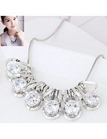 Fashion White Round Shape Gemstone Decorated Pure Color Necklace