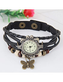 Fashion Black Butterfly Pendant Decorated Multi-color Simple Watch