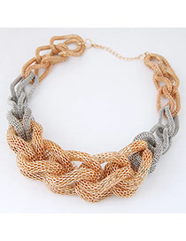 Fashion Grey+gold Color Necklace Hand-weaved Of Luxury Style