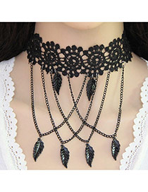 Vintage Black Hollw-out Choker Decorated With Chains&pendants