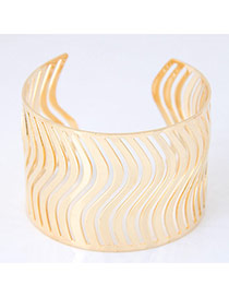 Bohemia Gold Color Pure Color Decorated Simple Hollow Out Design Bracelet